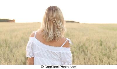 Elegant Country Female Beauty Dress Walking Field.