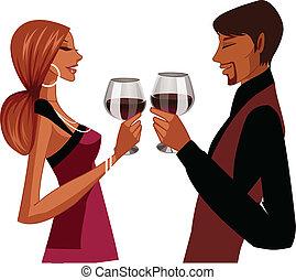 Elegant couple toasting