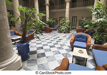 yard of a house - elegant courtyard of a house in Havana