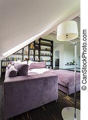 elegant, cozy, zimmer, mit, bookstand