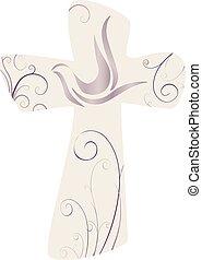 Elegant cross and dove. Christian symbol