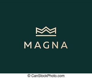 Elegant crown premium logo. Luxury royal king logotype....