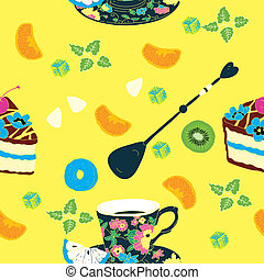Elegant Cup Cakes Seamless Pattern
