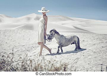 elegant, dam, med, den, söt, ponny
