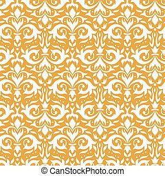 Elegant damask pattern. Ornate floral sprigs, golden baroque ornament and luxury ornamental flowers seamless vector background