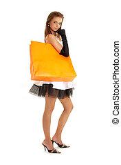elegant, dame, mit, orange, einkaufstüte, #2