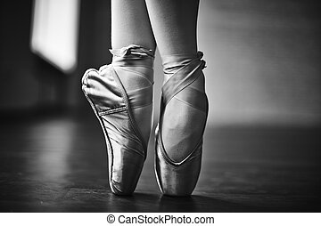 Elegant dance - Feet of dancing ballerina during rehearsal