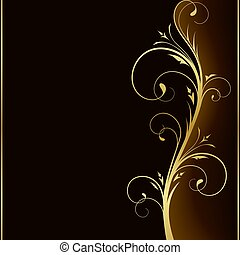Elegant dark background with golden floral design elements