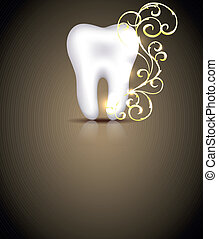 elegant, dental, design, mit, goldenes, wirbelt, element
