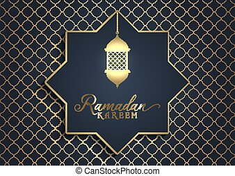 Elegant design for Ramadan Kareem in black and gold