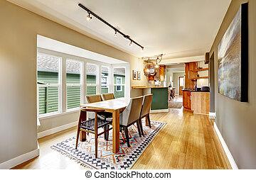Elegant dining table set in kitchen room