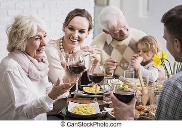 Elegant dinner of a multigenerational family