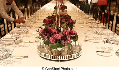 Elegant candlelight dinner table setting at reception, shoot Canon 5D Mark II