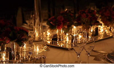 Elegant candlelight dinner table setting at reception shoot Canon 5D Mark II & Elegant dinner table setting 7. Elegant candlelight dinner table ...