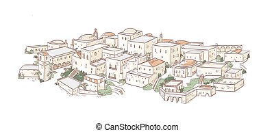 Elegant drawing of old city with beautiful buildings of Arab...