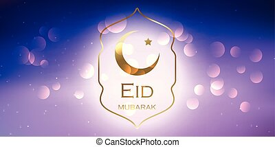 Elegant Eid Mubarak banner design with gold crescent and star