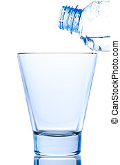 elegant empty glass with reflection on white background