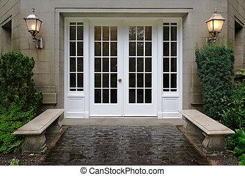 Elegant Entrance - Elegant stone walkway bordered by stone...