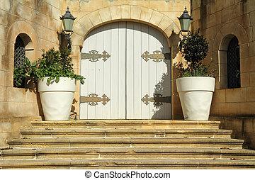 elegant entrance to the maltese villa , Europe