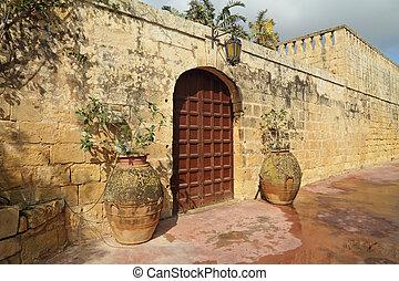 elegant entrance to the old maltese villa, Malta