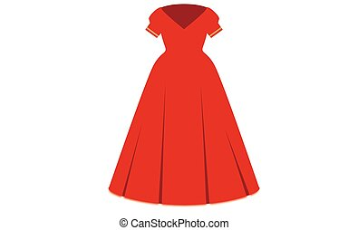 Elegant evening dress in red with gold trim on the sleeves