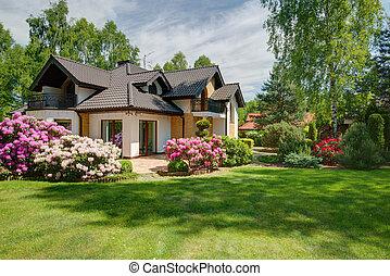 elegant, färsk, villa, med, bakgård