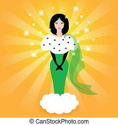 Elegant fairy princess in a green dress