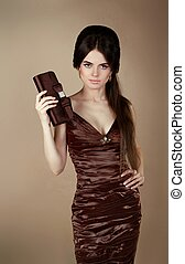 Elegant fashion brunette woman in d