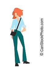 Elegant fashion girl in pants and shirt