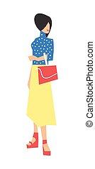 Elegant fashion girl in skirt and blouse