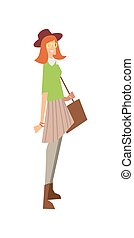 Elegant fashion girl with bag and hat