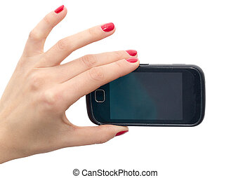 Elegant female hands with red nails holding a smart phone. Closeup isolated on white