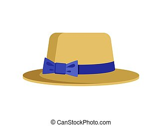 Elegant Female Hat with Blue Stripe and Cute Bow