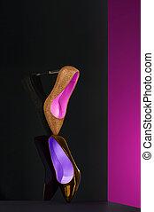 Elegant fine art display of classic court shoes - Elegant...