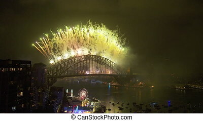 Elegant firework show in harbour bridge - Elegant and...