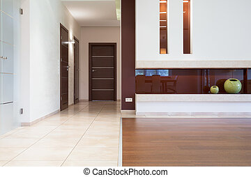 Elegant floors at modern flat - Elegant white and oak floors...