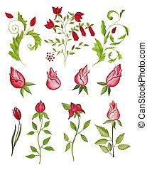 Elegant floral design - artistic work. watercolors on paper