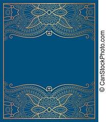 elegant floral ornamental background, golden decor on blue