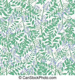 Elegant floral seamless pattern with licorice inflorescences, stems and leaves. Beautiful blooming purple flowers hand drawn in antique style on white background. Botanical vector illustration.