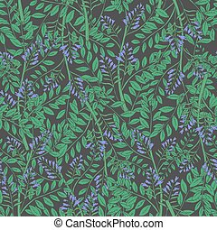 Elegant floral seamless pattern with licorice inflorescences, stems and leaves. Beautiful blooming purple flowers hand drawn in antique style on dark background. Botanical vector illustration.