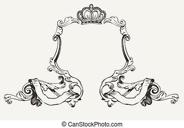 elegant, frame, koninklijke kroon