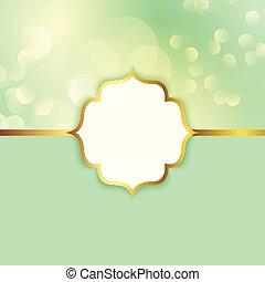 Elegant frame on a bokeh lights background