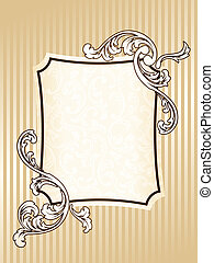 elegant, frame, sepia, rechthoekig, ouderwetse