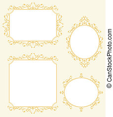 elegant, frame, set, grens, decoraties