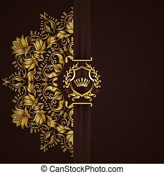 elegant, frame, spandoek, gouden
