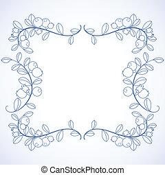 Elegant frame with blueberries.