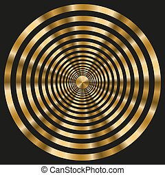 Elegant frame with gold concentric circles on black background.