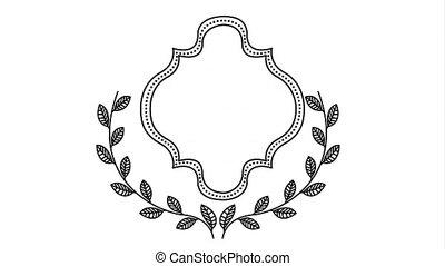 elegant frame with wreath video animation - elegant frame...