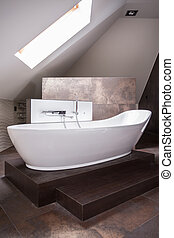 Elegant freestanding bath - Closeup of elegant freestanding...