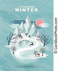 frozen winter landscape in flat design